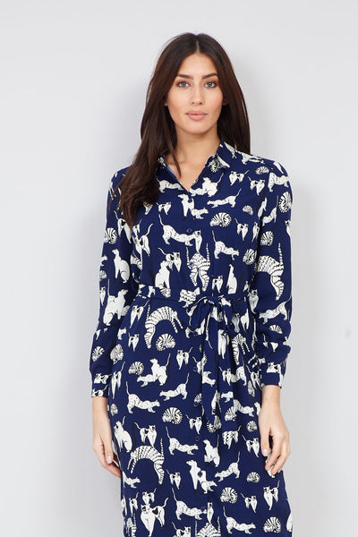 Cat Print Shirt Dress - Izabel London