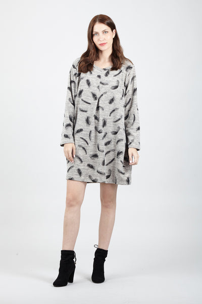 Feather Print Jumper Dress - Izabel London