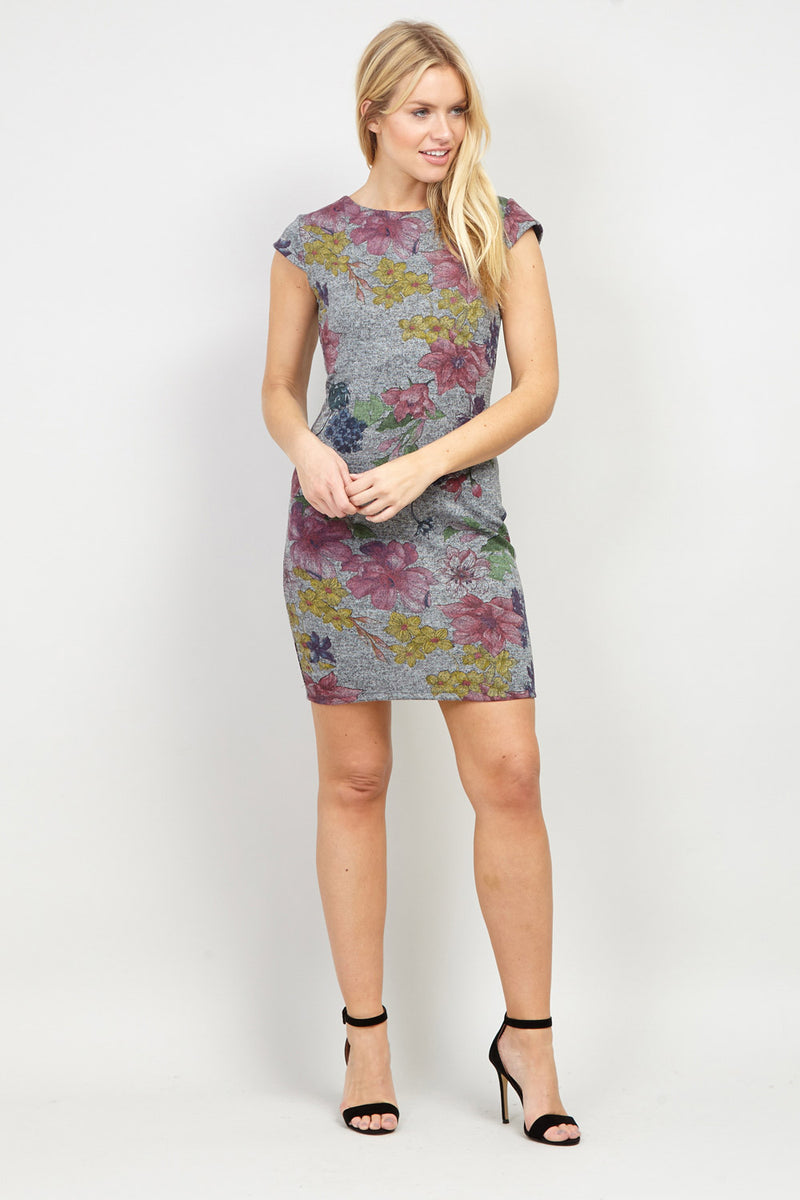 Grey | Floral Jersey Dress | Izabel London