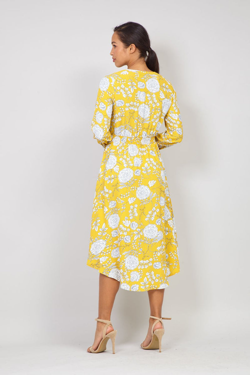 Floral Long Sleeve Tea Dress
