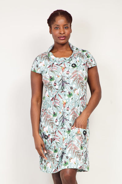 Curve Floral Cowl Neck Tunic Dress - Izabel London