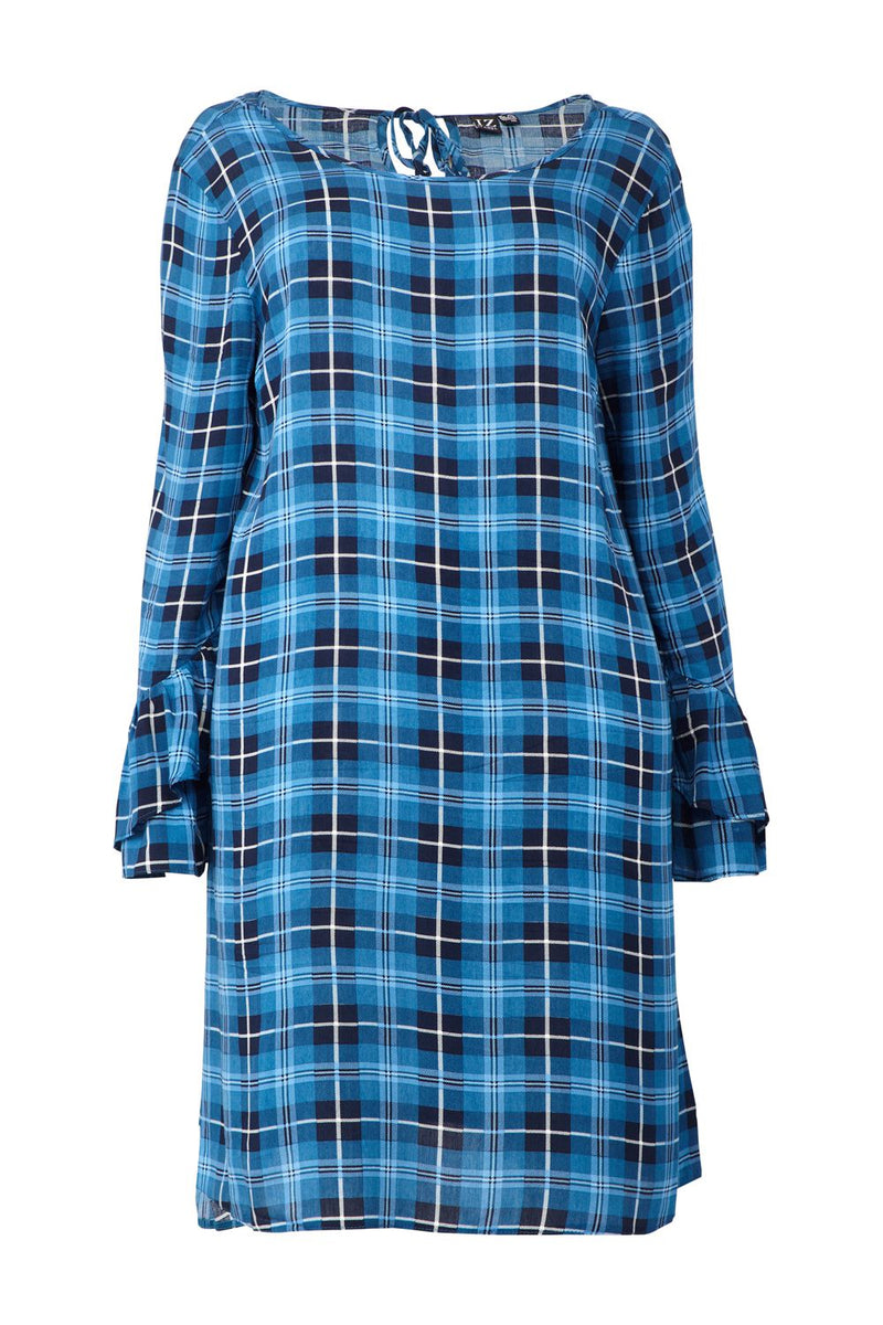 Navy | Curve Checked Frilled Sleeve Shift Dress