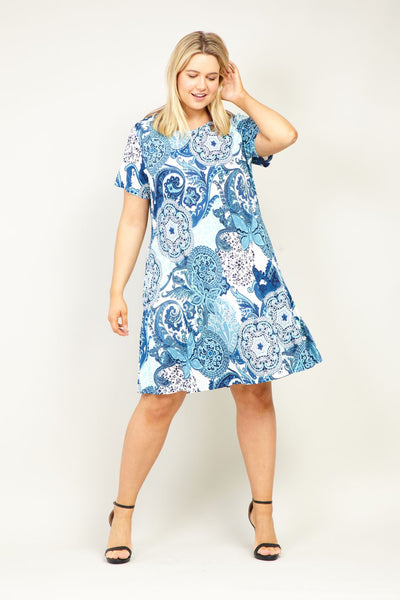 Curve Mosaic Print Skater Dress - Izabel London