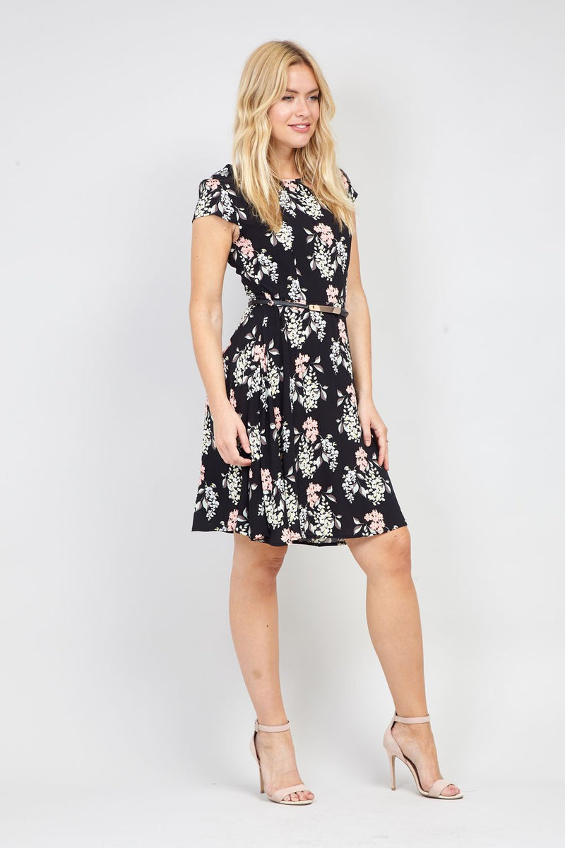 Black | Floral Fit & Flare Dress