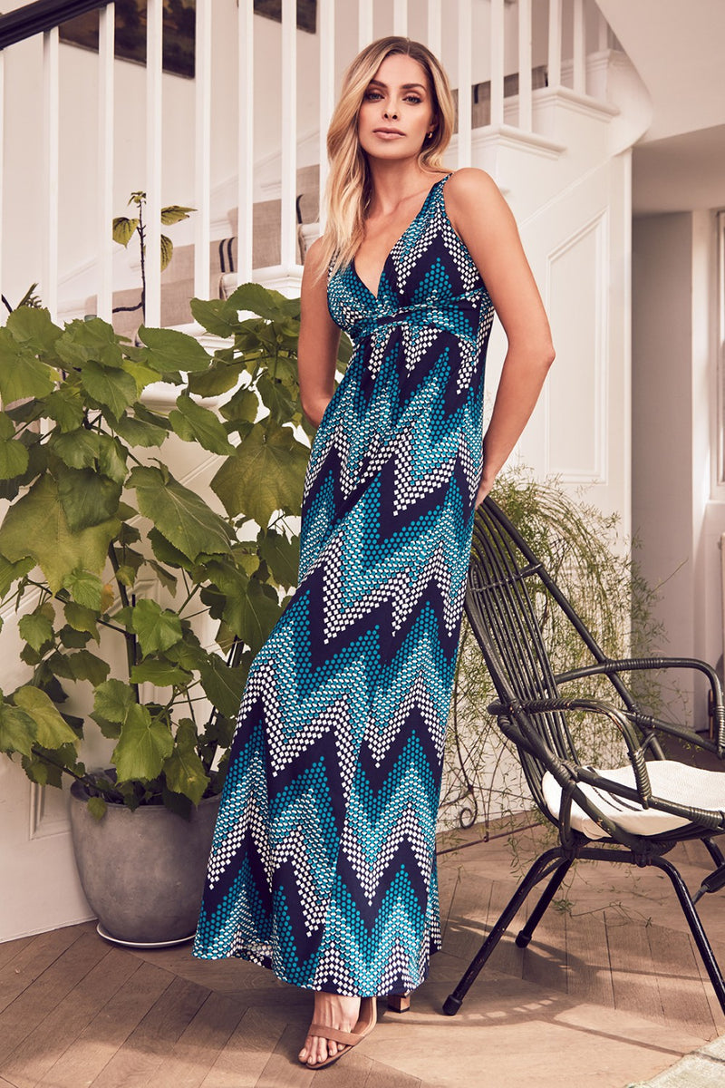 Teal | Zig Zag Maxi Dress
