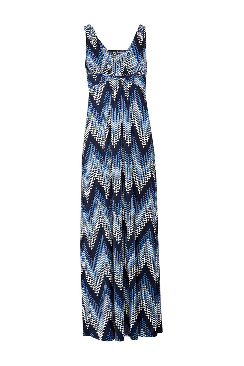 Navy | Zig Zag Maxi Dress