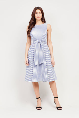 Striped Wrap Front Maxi Dress