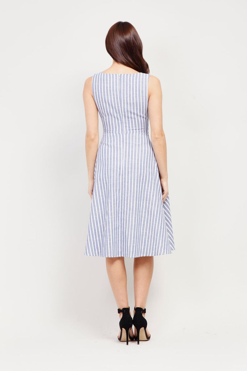Blue | Striped Tie Waist Dress