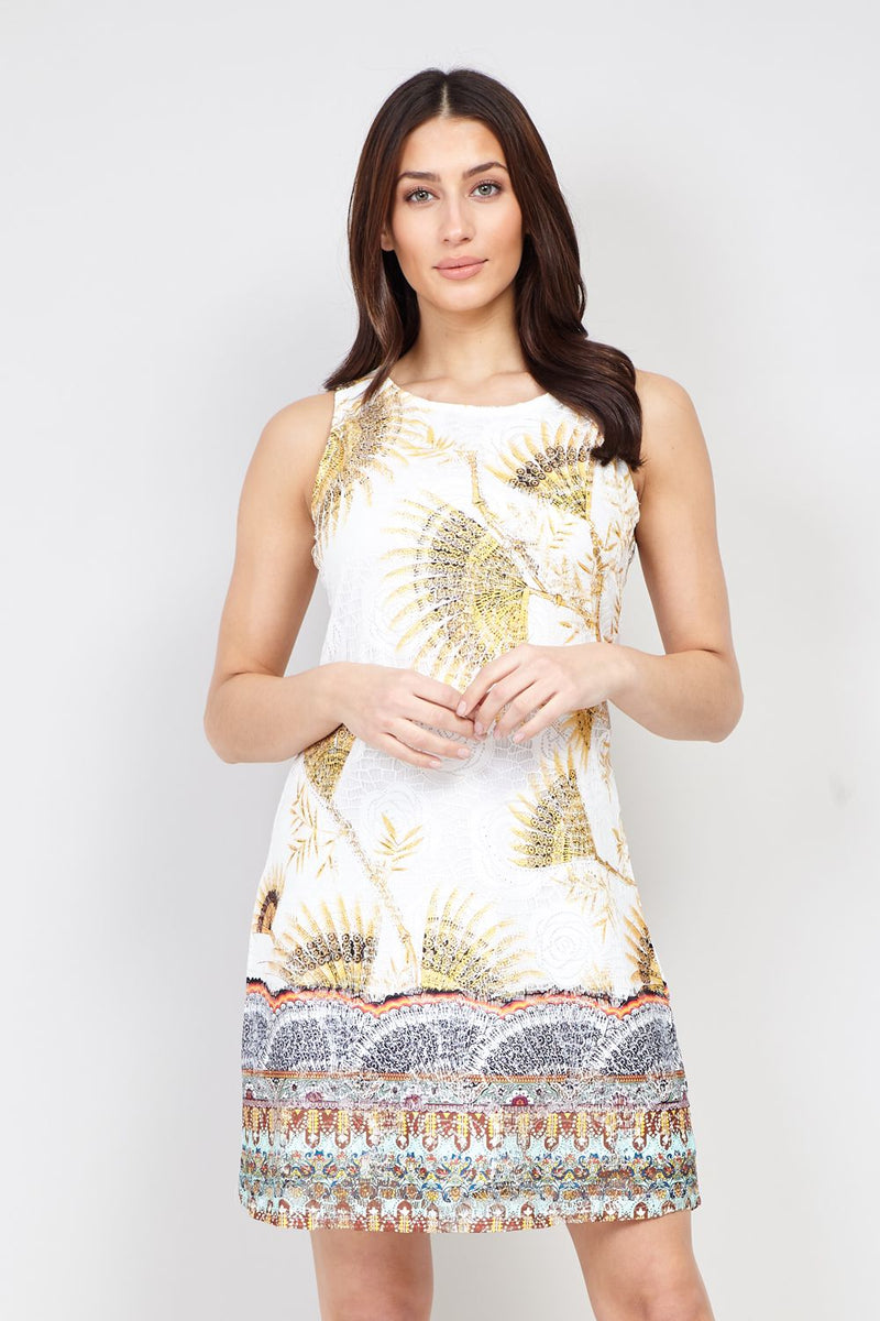 White | Eastern Print Lace Shift Dress