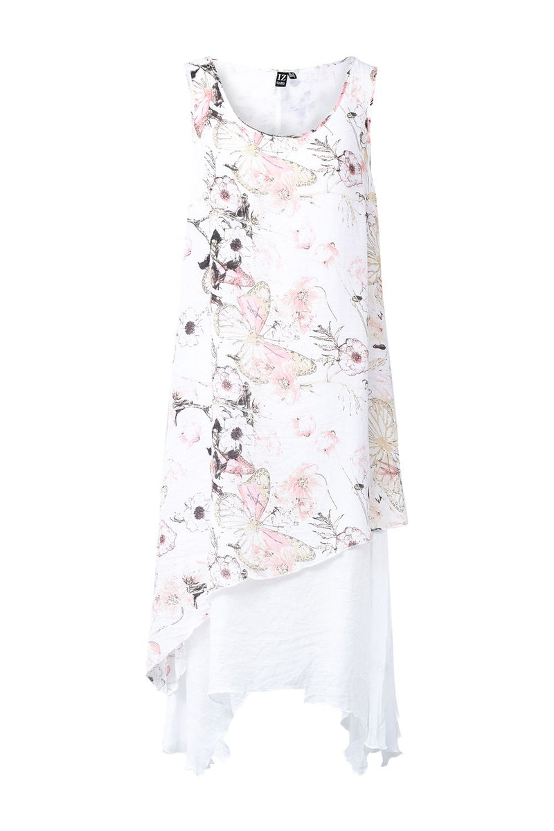 Pink | Butterfly Print Layered Swing Dress