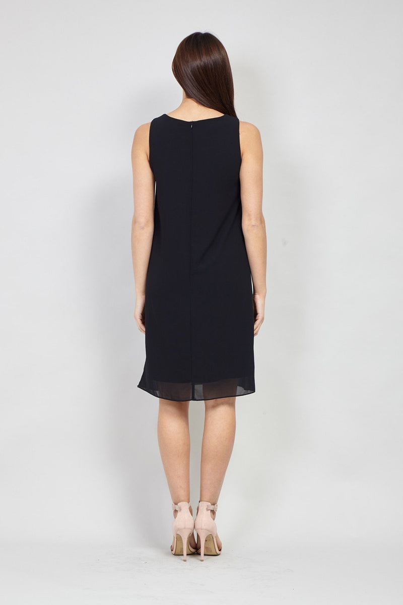 Black | Embellished Neck Shift Dress