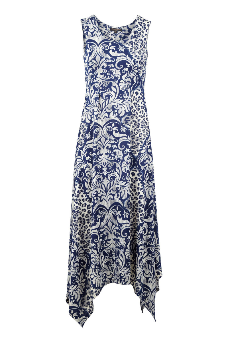 Navy | Animal Print Hanky Hem Maxi Dress