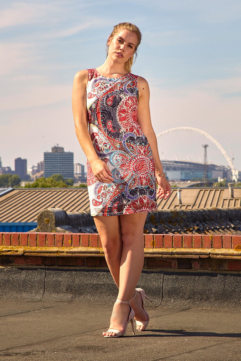 Red | Eastern Print Shift Dress