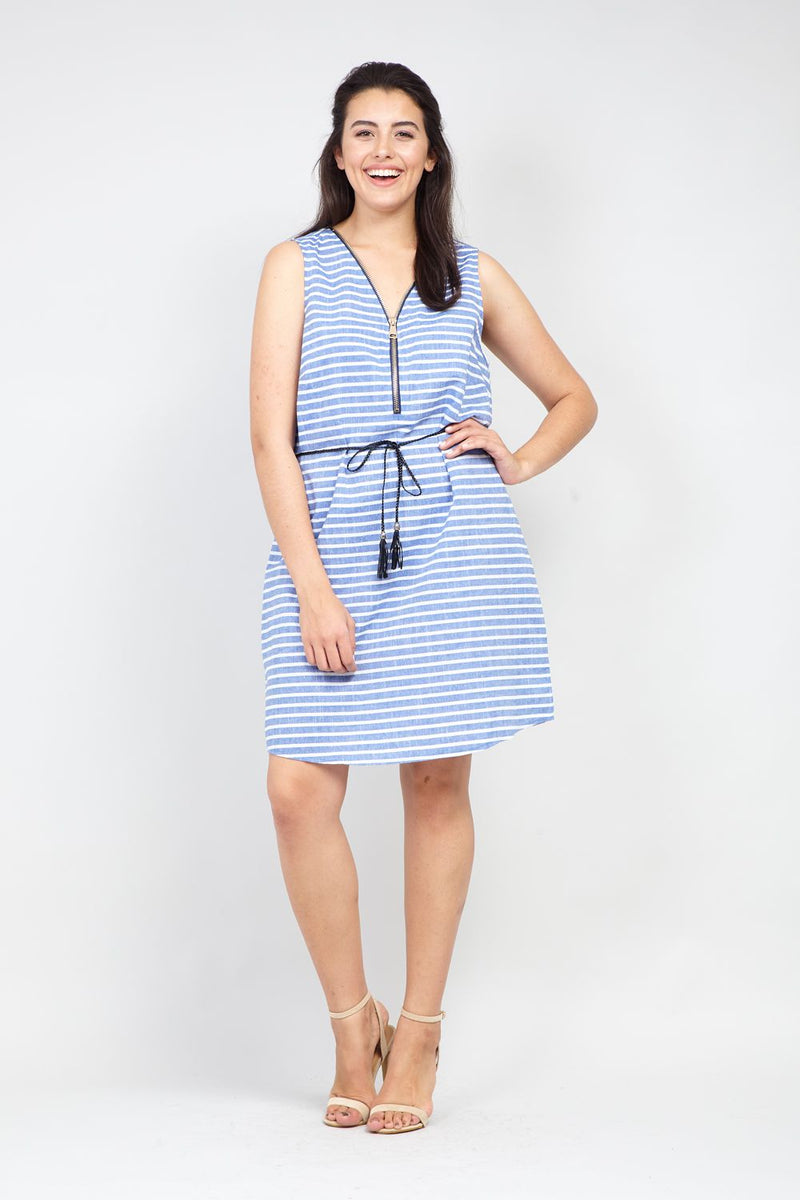 Curve Striped Zip Neck Dress - Izabel London