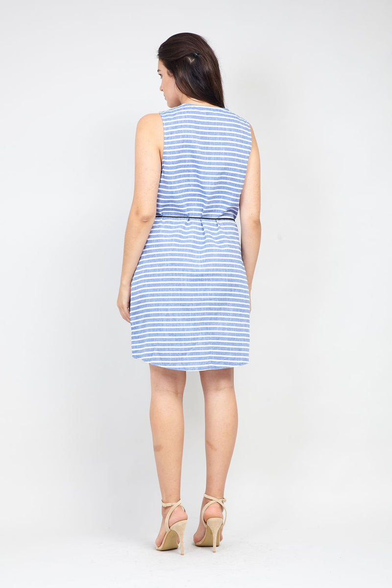 Blue | Curve Striped Zip Neck Dress