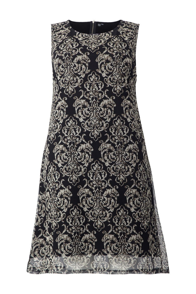 Curve Damask Print Sheer Overlay Shift Dress - Izabel London
