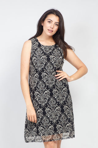 Curve Floral Appliqué Dress