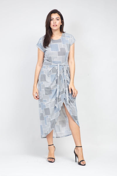 Curve Grid Print Midi Dress - Izabel London