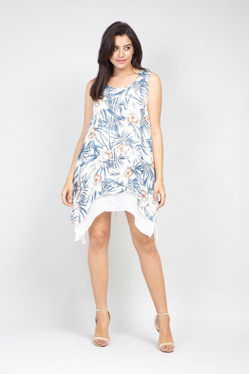 Blue | Curve Floral Layered Hem Tunic Dress | Izabel London