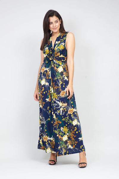 Curve Knot Front Floral Maxi Dress - Izabel London