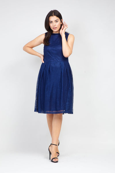 Navy | Curve Layered Fit & Flare Dress