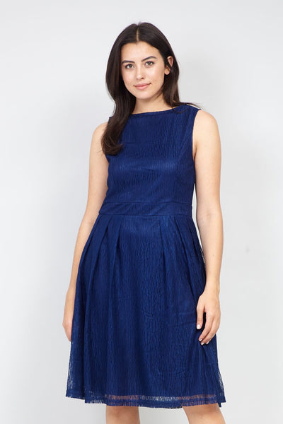 Navy | Curve Layered Fit & Flare Dress | Izabel London
