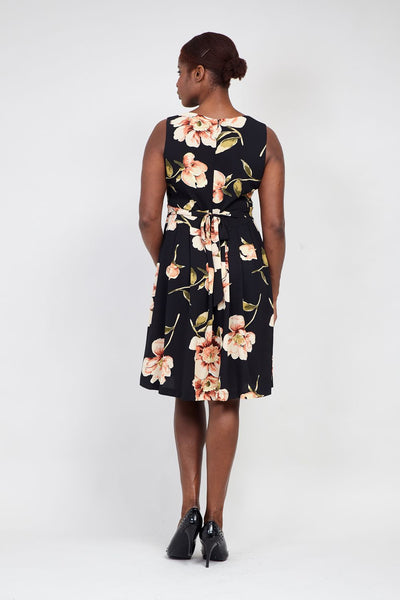 Black | Curve Floral Fit & Flare Dress