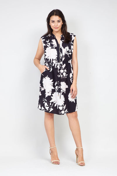Black | Curve Floral  Zip Front Tunic Dress