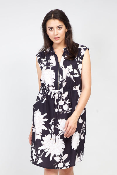 Black | Curve Floral  Zip Front Tunic Dress | Izabel London