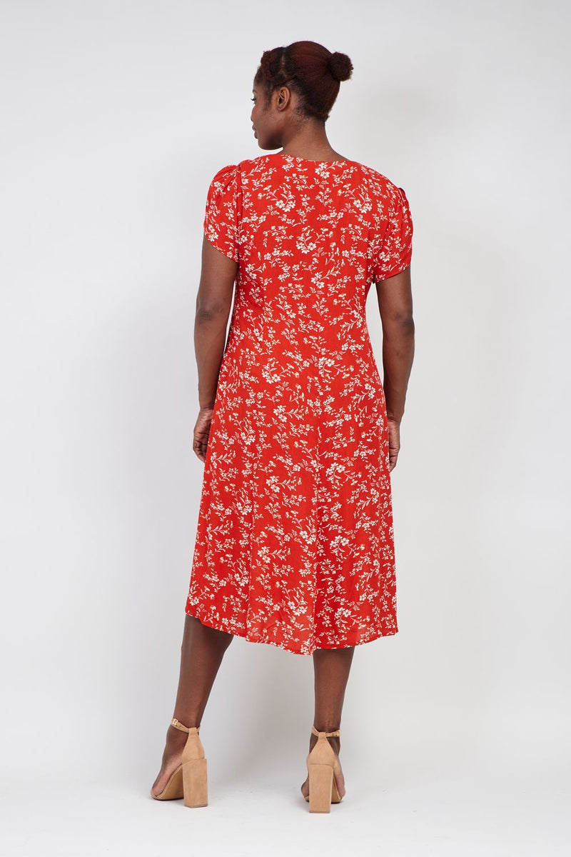 Curve Floral Button Front Midi Dress - Izabel London