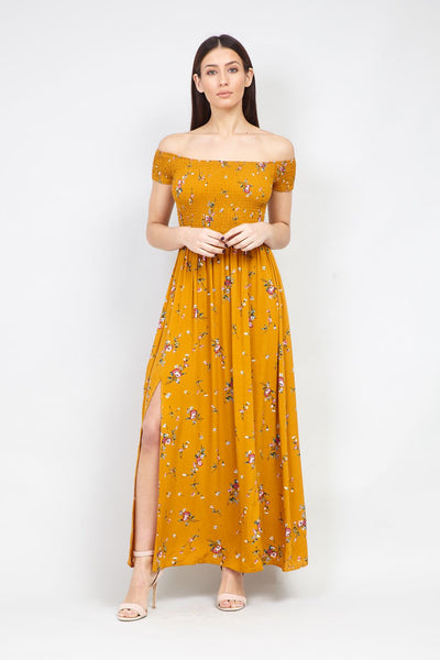 Yellow | Floral Print Shirred Front Maxi Dress | Izabel London