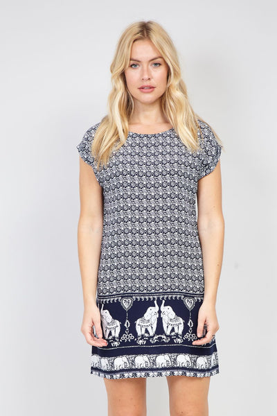 Elephant Print Shift Dress - Izabel London