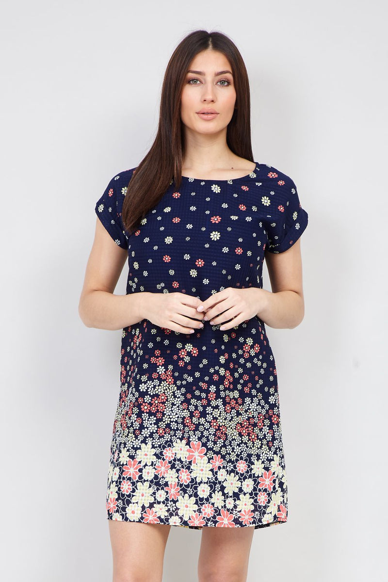 Navy | Daisy Print Shift Dress | Izabel London