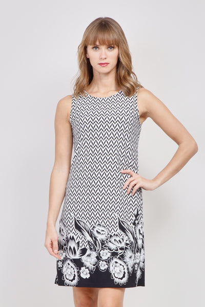 White | Border Print Shift Dress