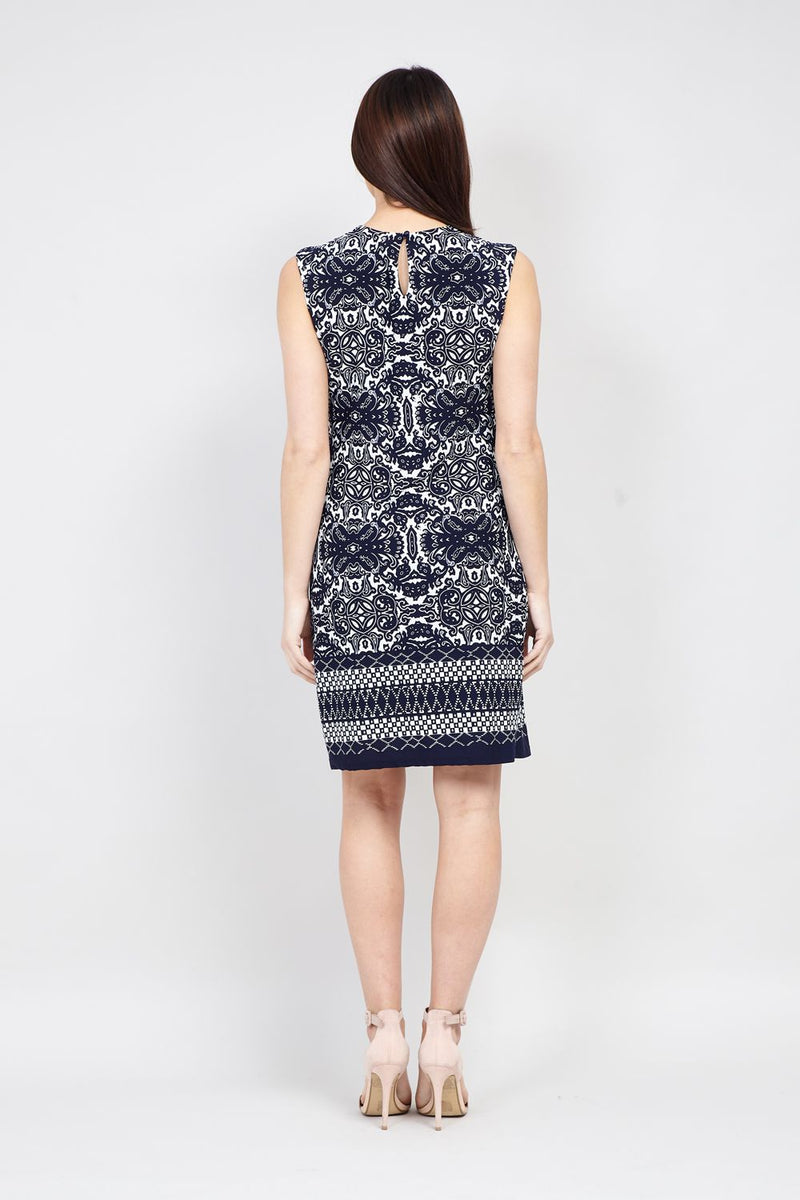 Baroque Print Shift Dress - Izabel London