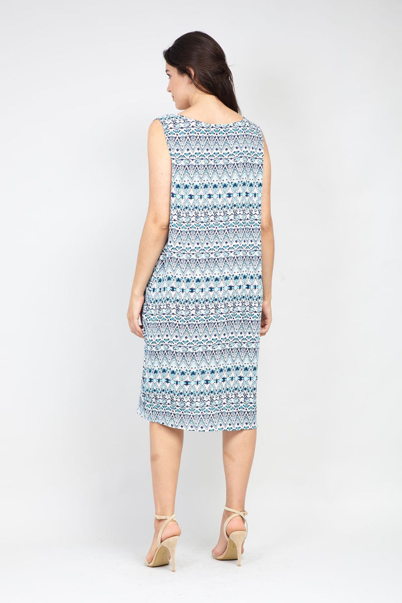 Blue | Curve Eastern Print Tunic Dress