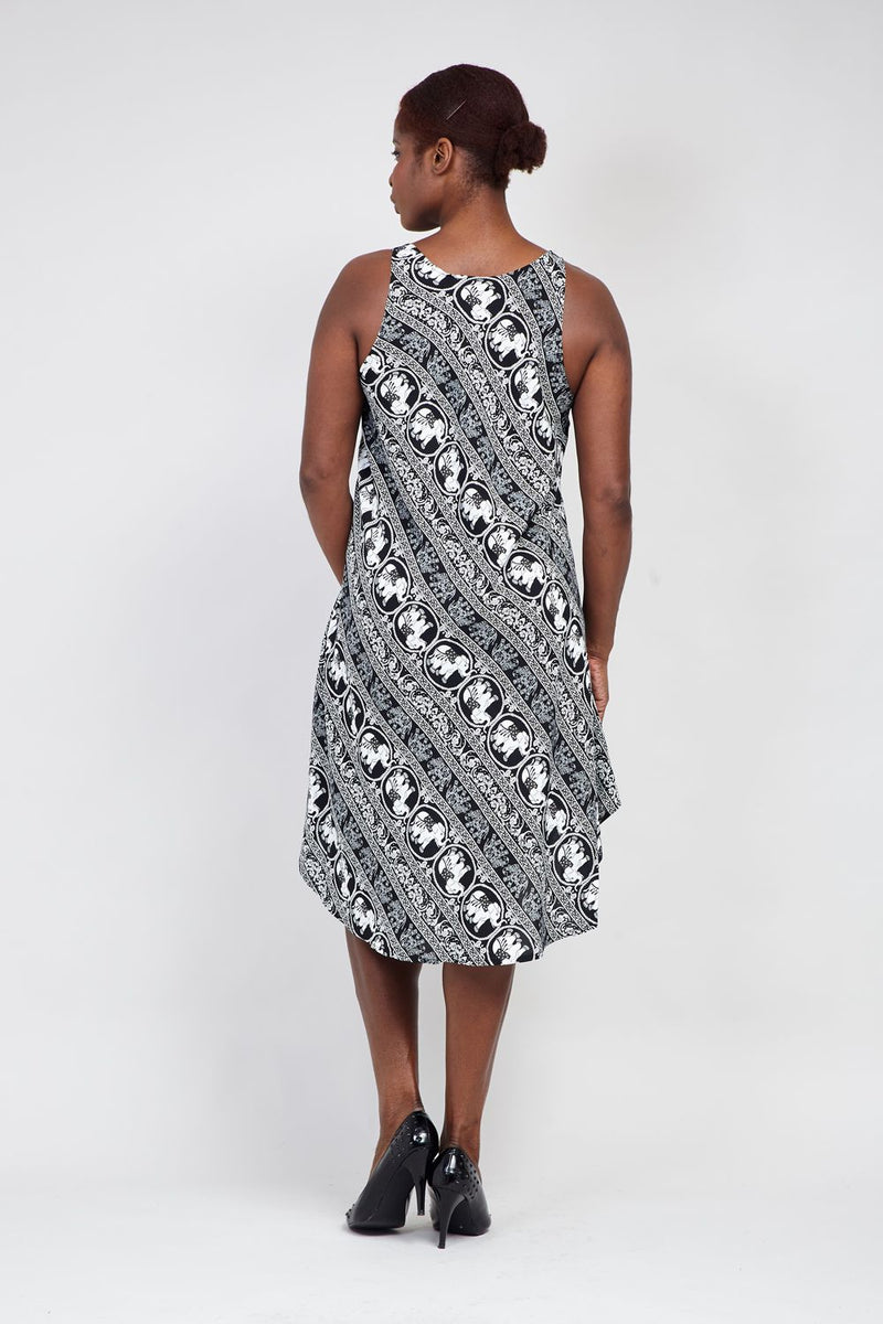 Black And White | Curve Elephant Summer Dress
