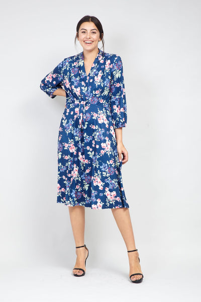 Curve Floral Tie Front Tea Dress - Izabel London
