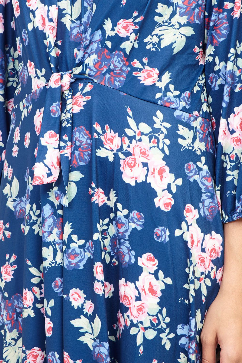 Navy | Curve Floral Tie Front Tea Dress