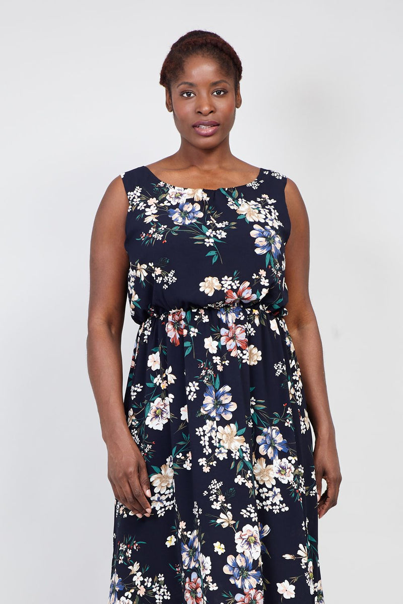 f20cb8acc0d Curve Floral Ruched Neck Maxi Dress - Izabel London