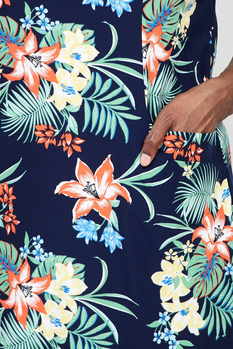 Navy | Curve Tropical Shift Dress