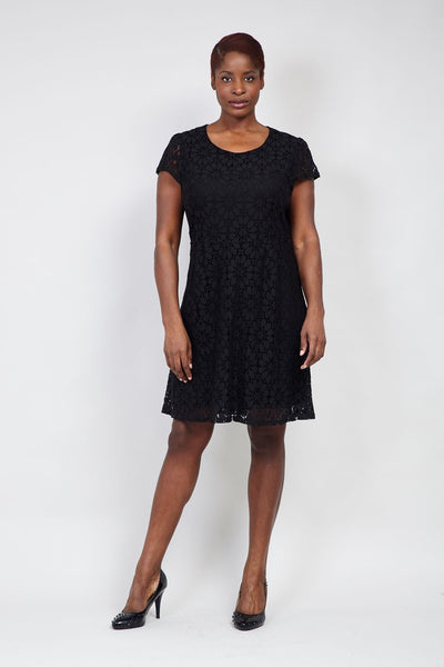 Black | Curve Lace Overlay Tea Dress