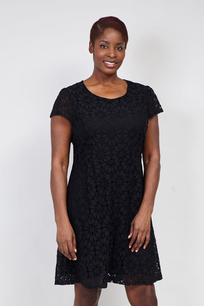 Black | Curve Lace Overlay Tea Dress | Izabel London