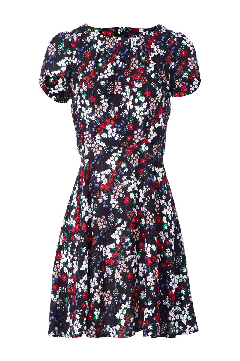 Black | Ditsy Floral Tea Dress