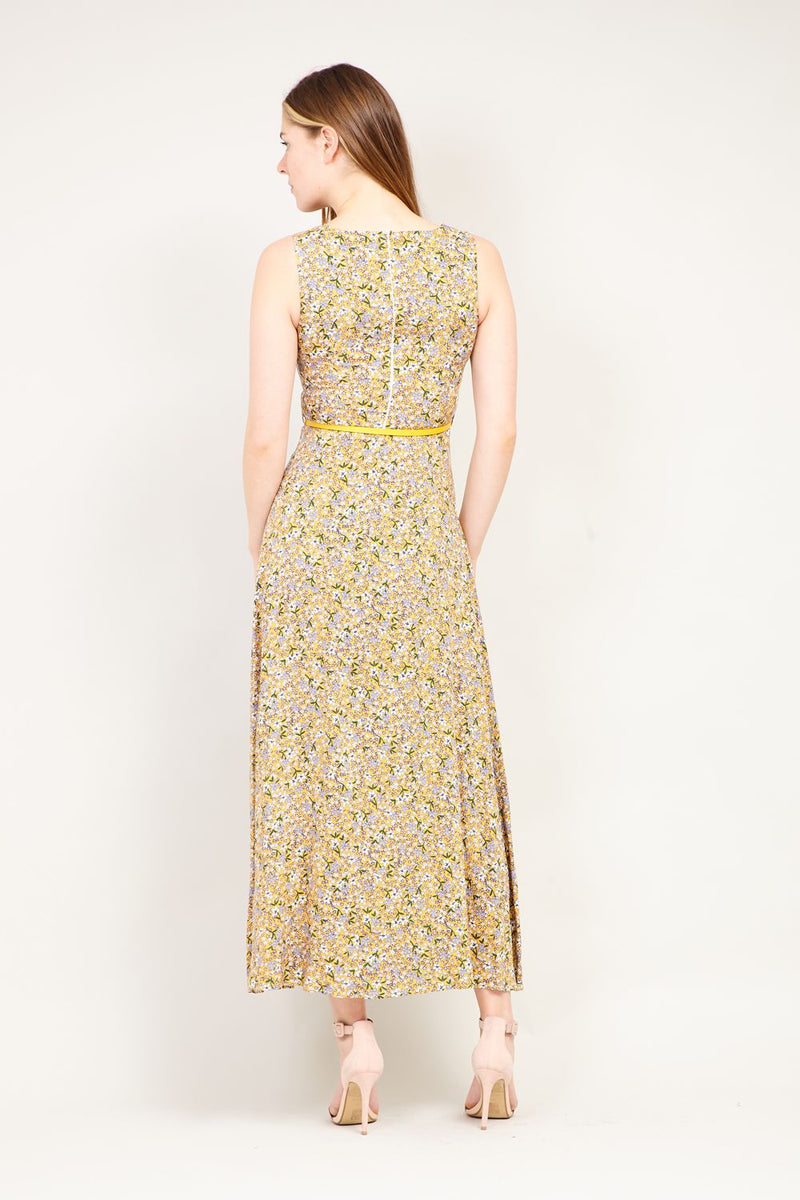 Yellow | Ditsy Floral Belted Maxi Dress