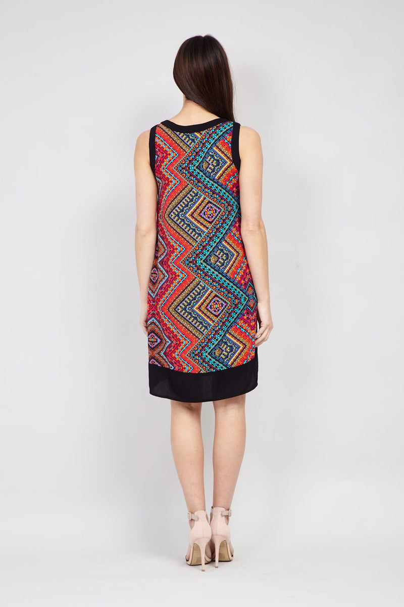 Red | Tribal Collarless Shift Dress
