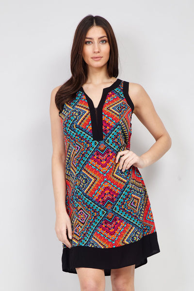 Tribal Print Shift Dress - Izabel London
