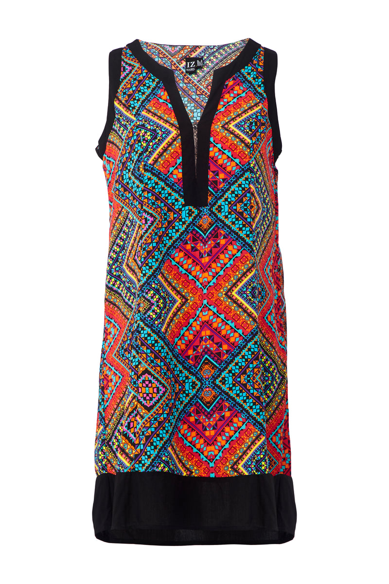 Red | Tribal Print Shift Dress