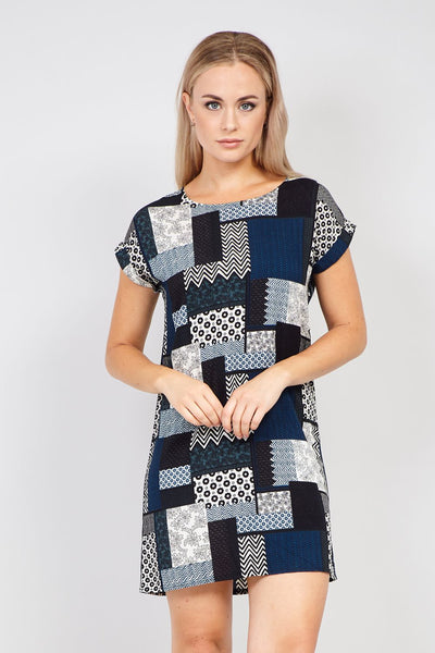Blue | Patchwork Print Shift Dress