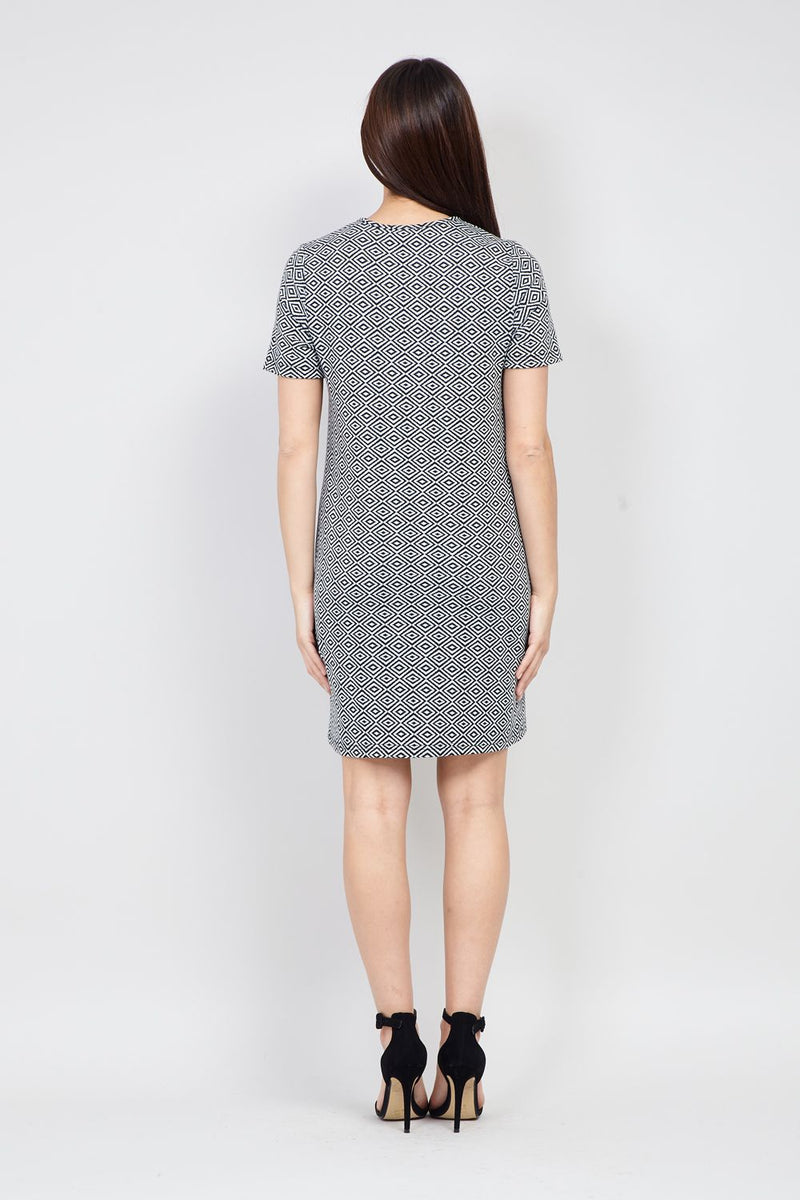 White | Geo Print Shift Dress